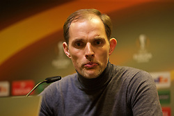 DORTMUND, GERMANY - Thursday, April 7, 2016: Borussia Dortmund's head coach Thomas Tuchel during the post-match press conference following the 1-1 draw against Liverpool during the UEFA Europa League Quarter-Final 1st Leg match at Westfalenstadion. (Pic by David Rawcliffe/Propaganda)