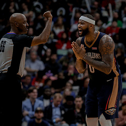Dec 29, 2017; New Orleans, LA, USA; New Orleans Pelicans center DeMarcus Cousins (0) pleads with referee Haywoode Workman (66) after a foul during the second half against the Dallas Mavericks at the Smoothie King Center. The Mavericks defeated the Pelicans 128-120.  Mandatory Credit: Derick E. Hingle-USA TODAY Sports