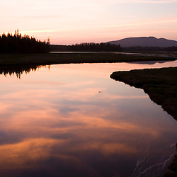 Sunset over the Bass Harbor Marsh in Maine's Acadia National Park.