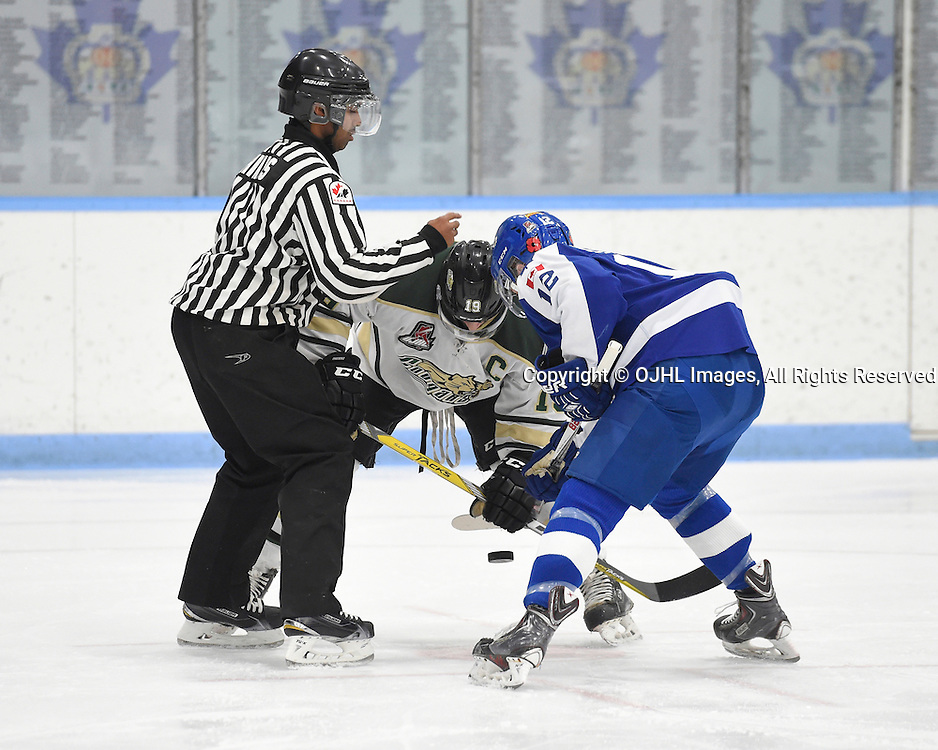 MARKHAM, ON - NOV 11,  2016: Ontario Junior Hockey League game between Cobourg and Markham, OHA Linesman Johnathon Hinds drops the puck during the first period.<br /> (Photo by Andy Corneau / OJHL Images)