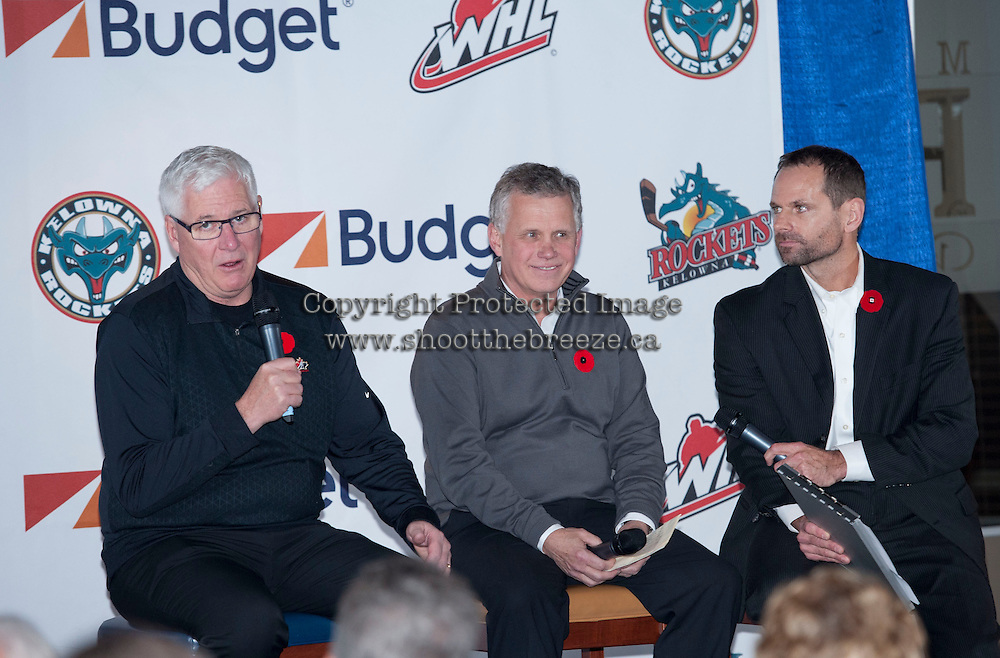 KELOWNA, CANADA - NOVEMBER 7:  Bruce Hamilton, GM of the Kelowna Rockets and Ron Robison, Commissioner of the WHL attend a Q&A session with Kelowna Rockets Ticket Holders moderated by play-by-play broadcaster Regan Bartell on November 7, 2013 at Prospera Place in Kelowna, British Columbia, Canada.   (Photo by Marissa Baecker/Shoot the Breeze)  ***  Local Caption  ***