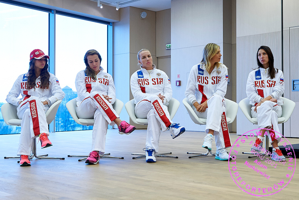 (L-R) Vitalia Diatchenko and Anastasia Pavyuchenkova and Svetlana Kuznetsova and Maria Sharapova and trainer coach Anastasia Myskina all from Russia during official draw one day before the Fed Cup / World Group 1st round tennis match between Poland and Russia at Holiday Inn on February 6, 2015 in Cracow, Poland.<br /> <br /> Poland, Cracow, February 6, 2015<br /> <br /> Picture also available in RAW (NEF) or TIFF format on special request.<br /> <br /> For editorial use only. Any commercial or promotional use requires permission.<br /> <br /> Adam Nurkiewicz declares that he has no rights to the image of people at the photographs of his authorship.<br /> <br /> Mandatory credit:<br /> Photo by &copy; Adam Nurkiewicz / Mediasport