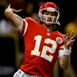 Aug 9, 2013; New Orleans, LA, USA; Kansas City Chiefs quarterback Ricky Stanzi (12) against the New Orleans Saints during a preseason game at the Mercedes-Benz Superdome. Mandatory Credit: Derick E. Hingle-USA TODAY Sports