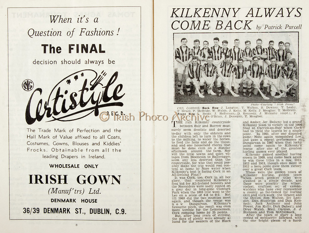 All Ireland Senior Hurling Championship Final,.Brochures,.01.09.1946, 09.01.1946, 1st September 1946, .Cork 7-5, Kilkenny 3-8, .Minor Dublin v Tipperary.Senior Cork v Kilkenny.Croke Park, ..Advertisements, Certistyle Irish Gown, ..Articles,  Kilkenny Always Come Back,.