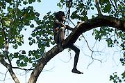 Comme un oiseau sur sa branche, ce jeune garçon chante en direction de ses camarades de jeu.