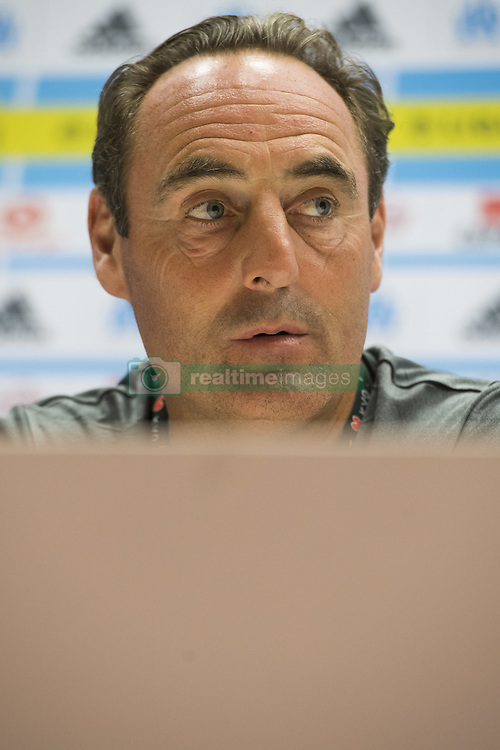 July 26, 2017 - Marseille, FRANCE - Oostende's head coach Yves Vanderhaeghe pictured during a press conference of Belgian first division soccer team KV Oostende ahead of the first leg of the third qualifying round for the UEFA Europa League competition, Wednesday 26 July 2017 in Marseille. KV Oostende plays against Olympic Marseille on Thursday. BELGA PHOTO LAURIE DIEFFEMBACQ (Credit Image: © Laurie Dieffembacq/Belga via ZUMA Press)