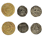 Crusader Kingdom of Jerusalem coins 1143-1163 CE On White Background