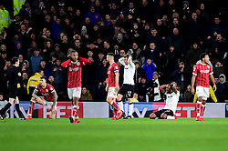 Aden Flint of Bristol City and Cameron Jerome of Derby County look to Referee Darren England as he ( England) books Jerome for diving  - Mandatory by-line: Joe Meredith/JMP - 19/01/2018 - FOOTBALL - Pride Park Stadium - Derby, England - Derby County v Bristol City - Sky Bet Championship
