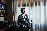 """PALERMO, ITALY - 7 JUNE 2016: Geri Ferrara, Deputy Prosecutor of Palermo in DDA (Direzione Distrettuale Antimafia, or Antimafia Directorate), poses for a portrait here in his office in the courthouse of Palermo, Italy, on June 7th 2016.<br /> <br /> Between January 2014 e December 2015 more than 120 tons of hashish, carried on fishing boats or cargo ships from Morocco to Libya, were seized in the Strait of Sicily by Italy's Guardia di Finanza (Financial Police) thanks to an international police investigation named """"Operazione Libeccio"""", carried out by the GICO (Gruppo Investigativo Criminalità Organizzata, Organised Crime Investigation Group), a unit of the tax police of Palermo under the supervision of the DDA (Direzione Distrettuale Antimafia) of Palermo.<br /> <br /> """"What is happening in Libya is same historical occurrence that happened years ago in Afghanistan. Such as the Talibans who financed their terroristic activities with heroin trafficking for the purchase of weapons, the Caliphate is proposing the same terroristic strategy by purchasing and commercialising hashish in order to purchase weapons used in their war"""" Sergio Barbera, Deputy General Prosecutor of Palermo, said."""
