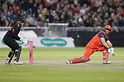 Lancashire Lightnings Dane Vilas (Capt)& (Wicket Keeper) reverse sweep  during the Vitality T20 Blast North Group match between Lancashire Lightning and Leicestershire Foxes at the Emirates, Old Trafford, Manchester, United Kingdom on 30 August 2019.