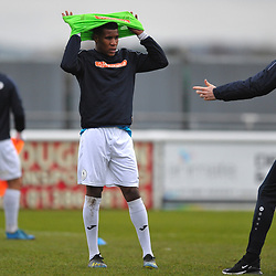 TELFORD COPYRIGHT MIKE SHERIDAN Riccardo Calder of Telford gets some last minute instructions during the Vanarama Conference North fixture between AFC Telford United and Gloucester City at Jubilee Stadium, Evesham on Saturday, December 28, 2019.<br /> <br /> Picture credit: Mike Sheridan/Ultrapress<br /> <br /> MS201920-037