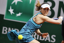 May 27, 2019 - Paris France - ALIZE CORNET of France in action against V. Kuzmova of Slovakia during their match at the French Open at Roland Garros in Paris. Kuzmova won 6:4, 6:3. (Credit Image: © Ibrahim Ezzat/NurPhoto via ZUMA Press)