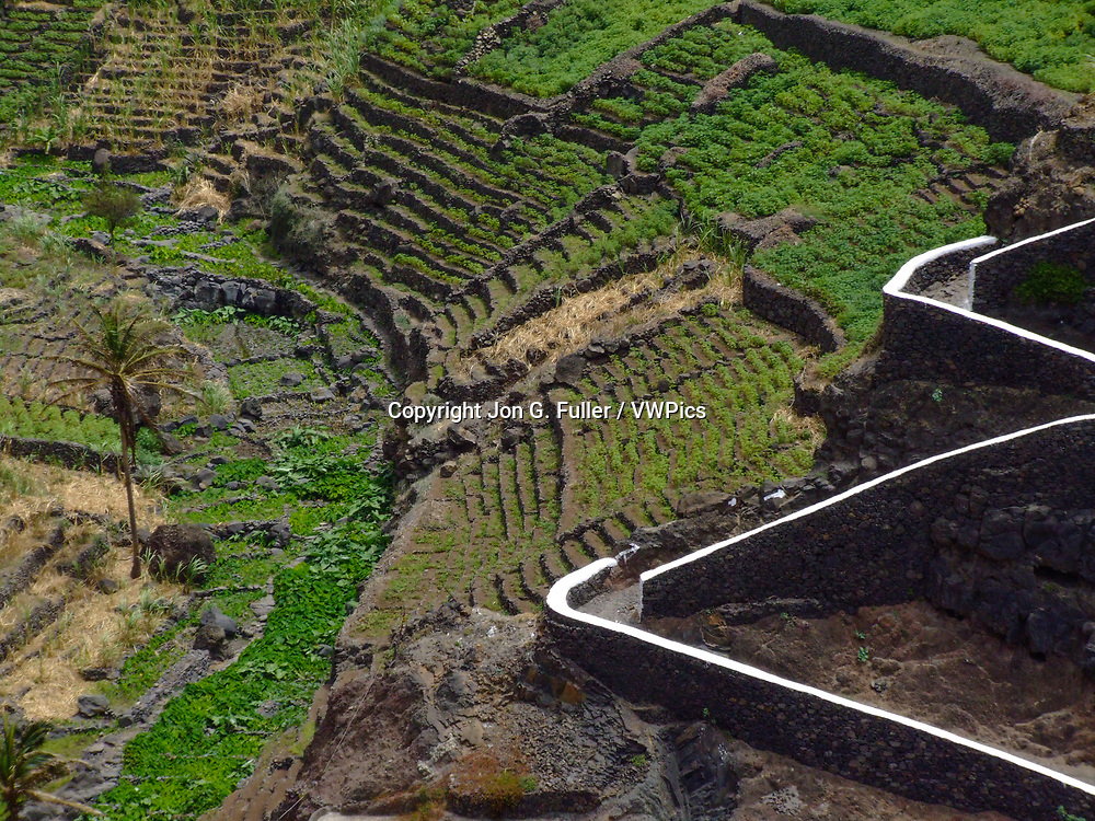 This switchback trail leads to the farming village of Corvo in a steep gorge on Santo Antao, Republic of Cabo Verde.  The farmers raise crops in terraced fields on the sides of the gorge.