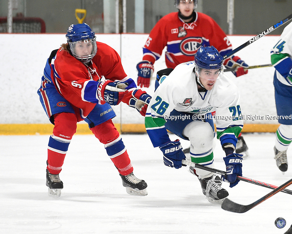 BURLINGTON, - Mar 2, 2016 -  Ontario Junior Hockey League game action between Burlington Cougars and the Toronto Junior Canadians. Game 1 of the first round playoff series at the Appleby Ice Centre, ON. Connor Beck #97 of the Toronto Jr. Canadiens tries to keep the puck from Chris Cobham #26 of the Burlington Cougars during the first period.<br /> (Photo by Andy Corneau / OJHL Images)