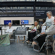 "A group of grandparents and elders have chained themselves together in a government department building in Westminster to urge the government to oppose ""dangerous"" fracking June 13th 2018, Central London, United Kingdom.<br /> <br /> Aged between 63 and 82, the 10-strong group from the South West - Grandparents for a Safe Earth (GFASE) - have occupied the Westminster building to demand that the Secretary of State for the Department for Business, Energy and Industrial Strategy Greg Clark refuse permission for fracking."