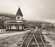 A rustic railway station on a foggy autumn day in the White Mountains of New Hampshire, USA