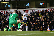 Etienne Capoue of Tottenham Hotspur (right) celebrates scoring his team's second goal against Burnley to make it 2-2 during the FA Cup match at White Hart Lane, London<br /> Picture by David Horn/Focus Images Ltd +44 7545 970036<br /> 14/01/2015