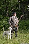 Ed Merkley and his Greyhound dog hunting.