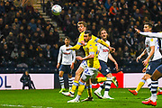 Patrick Bamford of Leeds United (9) and Jack Harrison of Leeds United (22) look on at the loose ball during the EFL Sky Bet Championship match between Preston North End and Leeds United at Deepdale, Preston, England on 9 April 2019.