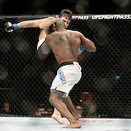 GLASGOW, SCOTLAND, JULY 18, 2015: Jimmie Rivera (black shorts with white stripe) defeats Marcus Brimage via TKO during UFC Fight Night 72 inside the SSE Hydro Arena in Glasgow. (Martin McNeil for ESPN)