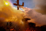 An air tanker drops water on a fire along the Ronald Reagan (118) Freeway in Simi Valley, Calif., Monday, Nov. 12, 2018. The Woolsey Fire was a destructive wildfire that burned in Los Angeles and Ventura Counties of the U.S. state of California. The fire ignited on November 8, 2018 and burned 96,949 acres of land.
