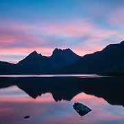 Cradle Mountain reflected in Dove Lake at sunset