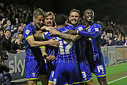 Tom Beere midfielder for AFC Wimbledon (16) (centre) celebrates putting AFC Wimbledon 1-0 during  the Sky Bet League 2 Play-Off first leg match between AFC Wimbledon and Accrington Stanley at the Cherry Red Records Stadium, Kingston, England on 14 May 2016. Photo by Stuart Butcher.