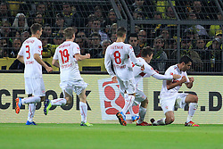 01.11.2013, Signal Iduna Park, Dortmund, GER, 1. FBL, Borussia Dortmund vs VfB Stuttgart, 11. Runde, im Bild Karim Haggui #5 (VfB Stuttgart - rechts) beim Torjubel nach seinem Kopfball Treffer zum 1:0, Emotion, Freude, Glueck, Positiv // during the German Bundesliga 11th round match between Borussia Dortmund and VfB Stuttgart at the Signal Iduna Park in Dortmund, Germany on 2013/11/02. EXPA Pictures © 2013, PhotoCredit: EXPA/ Eibner-Pressefoto/ Schueler<br /> <br /> *****ATTENTION - OUT of GER*****