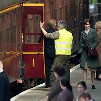 Filming of The Railway Man on Perth Railway Station....01.05.12<br /> Nicole Kidman walks down the platform before boarding the train whilst filming for her new film with Colin Firth.<br /> Picture by Graeme Hart.<br /> Copyright Perthshire Picture Agency<br /> Tel: 01738 623350  Mobile: 07990 594431