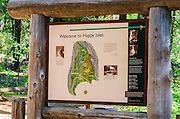 Happy Isles interpretive sign, Yosemite National Park, California USA