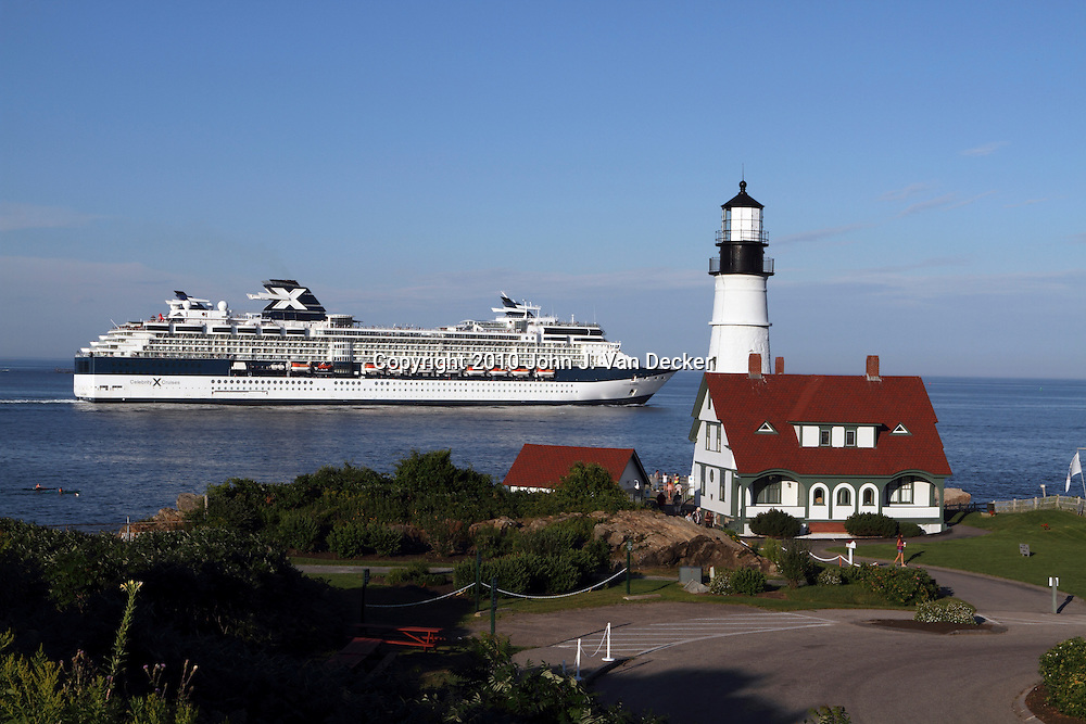 A Cruise Ship Passing Portland Head Light In Cape Elizabeth Maine - Portland maine cruise ship terminal