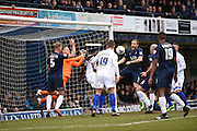 Disallowed goal during the Sky Bet League 1 match between Southend United and Gillingham at Roots Hall, Southend, England on 19 March 2016. Photo by Martin Cole.