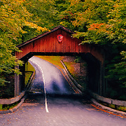 """Autumn Covered Bridge Painting"" <br />