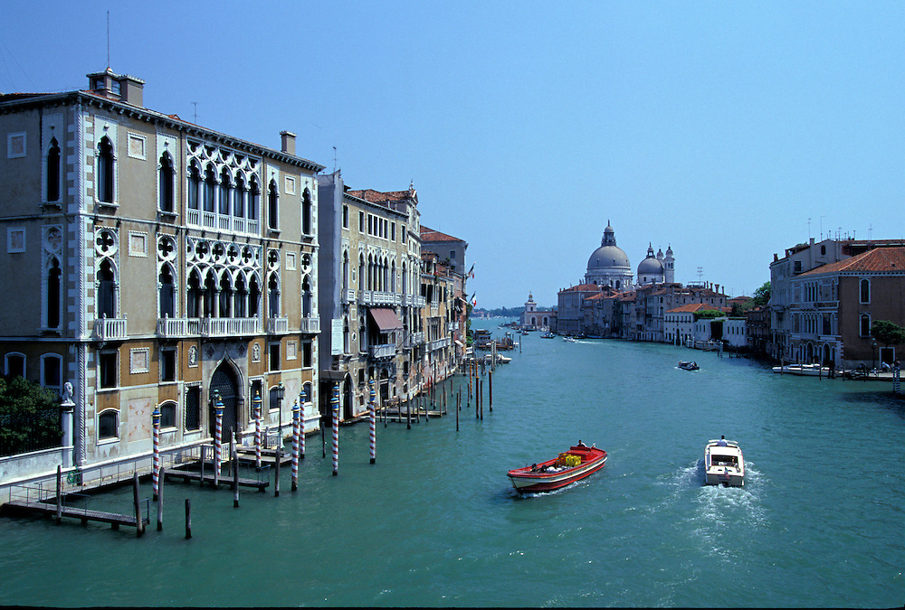 Venice, Italy:  View of the Grand Canal, looking east toward St. Mark's Square from Ponte dell'Accademia.