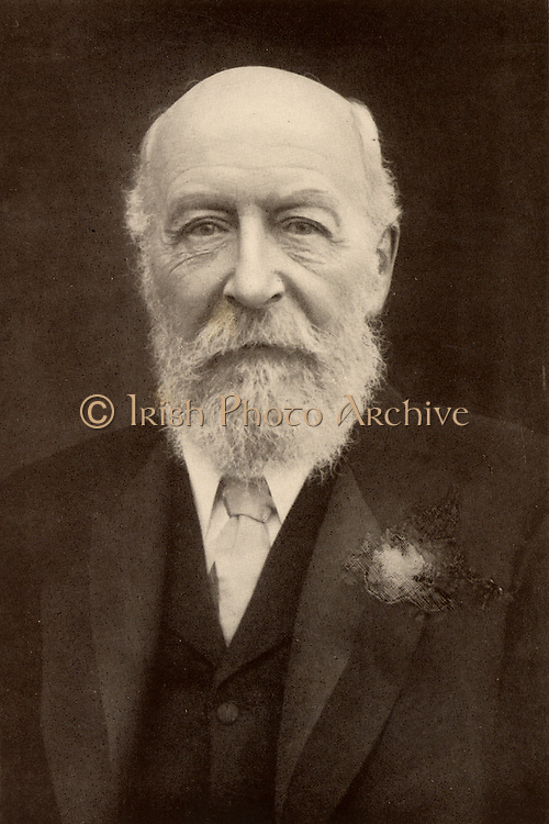 George Cadbury (1839-1922) in 1906 at the age of 78.  English Quaker industrialist and social reformer who, with his brother Richard, took over their father's chocolate business in 1861.  In 1866 they were the first in Britain to sell cocoa as a drink.  In 1879 the firm moved to Bournville, Birmingham.  From 'The Life of George Cadbury' by AG Gardiner (London, 1923).