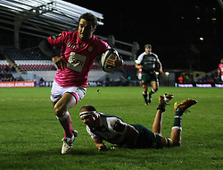 Julien Tomas of Stade Francais scores a try - Mandatory byline: Jack Phillips / JMP - 07966386802 - 13/11/15 - RUGBY - Welford Road, Leicester, Leicestershire - Leicester Tigers v Stade Francais - European Rugby Champions Cup Pool 4
