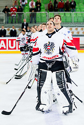 MVP Bernhard Starkbaum of Austria celebrates after the ice-hockey match between Austria and Great Britain at IIHF World Championship DIV. I Group A Slovenia 2012, on April 16, 2012 in Arena Stozice, Ljubljana, Slovenia. Austria defeated Great Britain 6-3. (Photo by Vid Ponikvar / Sportida.com)