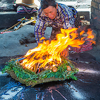 CHICHICASTENANGO , GUATEMALA - JULY 26 : Guatemalan man take part in a traditional Mayan ceremony in Chichicastenango , Guatemala on July 26 2015