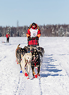 Musher Mitch Seavey after the restart in Willow of the 46th Iditarod Trail Sled Dog Race in Southcentral Alaska.  Afternoon. Winter.