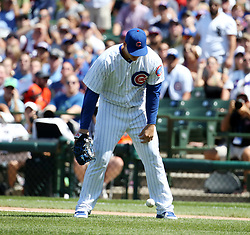 July 25, 2017 - Chicago, IL, USA - Chicago Cubs first baseman Anthony Rizzo lets a pop up drop for an infield fly rule in the fourth inning during action against the Chicago White Sox on Tuesday, July 25, 2017, at Wrigley Field in Chicago. The Cubs won, 7-2. (Credit Image: © Brian Cassella/TNS via ZUMA Wire)