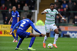 Yeovil Town's Gozie Ugwu looks to break past Chesterfield's Tendayi Darikwa - Photo mandatory by-line: Harry Trump/JMP - Mobile: 07966 386802 - 03/04/15 - SPORT - FOOTBALL - Sky Bet League One - Yeovil Town v Chesterfield - Huish Park, Yeovil, England.
