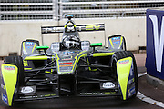 Oliver Turvey getting close to the kerbs during the FIA Formula E Visa London ePrix  at Battersea Park, London, United Kingdom on 28 June 2015. Photo by Matthew Redman.