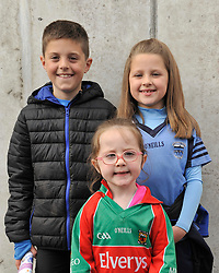 Killian, Emma and Kate Conway supporting the Westport minor's at McHale park yesterday<br /> Pic Conor McKeown