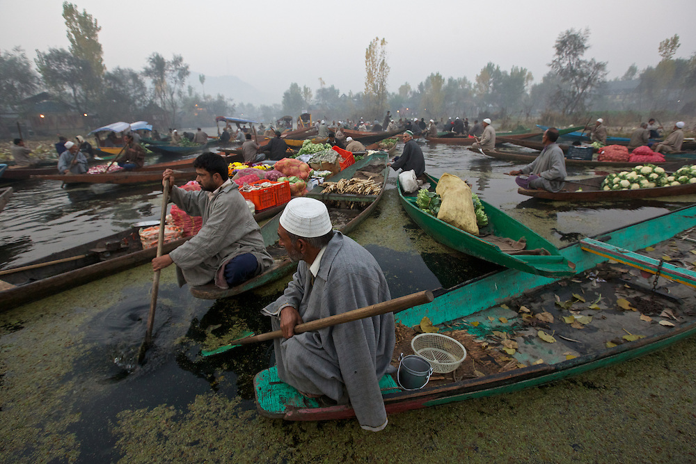 Dal Lake Srinagar, Kashmir, India Floating Market at dawn on Dal Lake.
