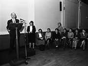 """These Obstreperous Lassies"" Book Launch.  (R93)..1988..15.12.1988..12.15.1988..15th December 1988..A book which chronicles an important aspect of Irish social history was launched in Larkin Hall. ""These Obstreperous Lassies"" written and researched by Mary Jones, details the seventy three years of the Irish Women Workers Union and of the women who were involved in the union..With Countess Markievicz as its first president, The Union began the fight for equal pay and fair treatment under the leadership of women like helen Chenevix, Louise Bennett and Helena Molloy. They fought for the rights of vulnerable workers such as Laundresses,print workers,box makers,nurses and dressmakers..The Author, Mary Jones, is a full time researcher specialising in Women and Work...Michael Gill, Managing Director, Gill and McMillan,(Publishers),speaking at the launch of the book ""These Obstreperous Lassies"""
