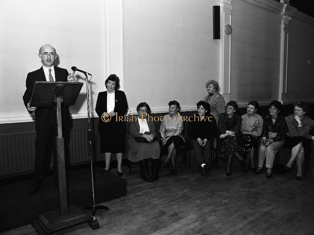 """""""These Obstreperous Lassies"""" Book Launch.  (R93)..1988..15.12.1988..12.15.1988..15th December 1988..A book which chronicles an important aspect of Irish social history was launched in Larkin Hall. """"These Obstreperous Lassies"""" written and researched by Mary Jones, details the seventy three years of the Irish Women Workers Union and of the women who were involved in the union..With Countess Markievicz as its first president, The Union began the fight for equal pay and fair treatment under the leadership of women like helen Chenevix, Louise Bennett and Helena Molloy. They fought for the rights of vulnerable workers such as Laundresses,print workers,box makers,nurses and dressmakers..The Author, Mary Jones, is a full time researcher specialising in Women and Work...Michael Gill, Managing Director, Gill and McMillan,(Publishers),speaking at the launch of the book """"These Obstreperous Lassies"""""""