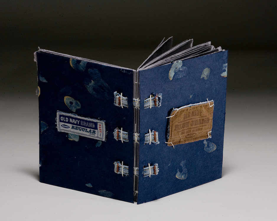 Artist: Matt Reedy. Book sewn on tapes made from blue jeans.