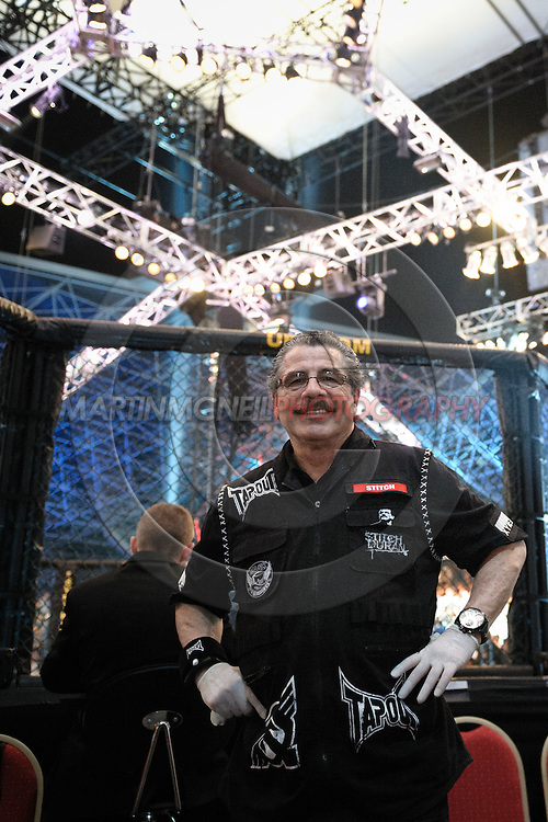 "ABU DHABI, UNITED ARAB EMIRATES, APRIL 10, 2010: Jacob ""Stitch"" Duran stands near the octagon at ""UFC 112: Invincible"" inside Ferari World, Abu Dhabi on April 10, 2010"