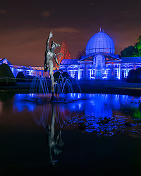 "© Licensed to London News Pictures. 18/11/2016. London, UK. The annual light show known as ""The Enchanted Woodland"" opens at Syon Park in west London.  Syon House is the London home of the Duke of Northumberland and his family and, in the grounds designed by Capability Brown, a walking path takes visitors on a night-time tour of the park with their way illuminated by colourful lights. Photo credit : Stephen Chung/LNP"