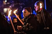 Magdeburg | 18 Jan 2014<br /> <br /> ACHTUNG BESONDERE HONORARKONDITIONEN!<br /> <br /> Am Samstag (19.01.2014) marschierten etwa 1000 Neonazis bei einem &quot;Gedenkmarsch&quot; durch Magdeburg, um der Bombardierungen der Stadt im 2. Weltkrieg zu &quot;gedenken&quot;.<br /> Hier: Neonazis mit Fackeln bei einer &quot;Schweigeminute&quot; w&auml;hrend der Zwischenkundgebung der Demo.<br /> <br /> &copy;peter-juelich.com<br /> <br /> [No Model Release | No Property Release]